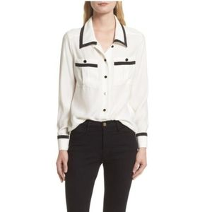 Frame Denim 100% Silk Retro Inspired Blouse